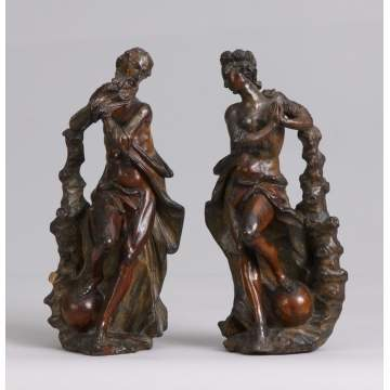 Pair of 18th Cent. Italian Carved Wood Figures