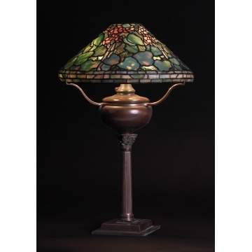 Sgn. Tiffany Studios, NY, Geranium Table Lamp