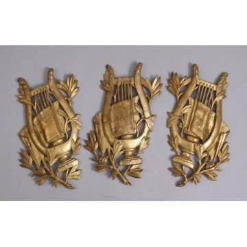 3 Carved & Gilt Harp Wall Hangings