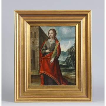 Painting on Copper of St. Catherine