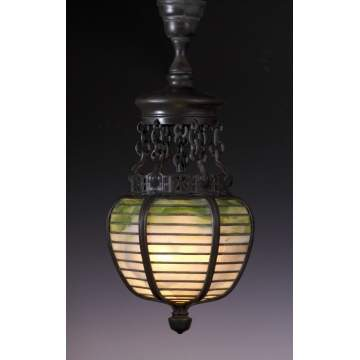 Early Tiffany Studios, NY, Bronze & Leaded Glass Hall Lantern