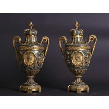 Pair of French Portrait Urns