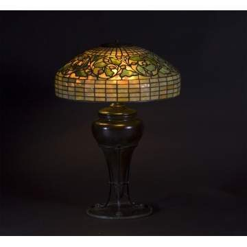 Sgn. Tiffany Studios Acorn & Oak Leaves Lamp