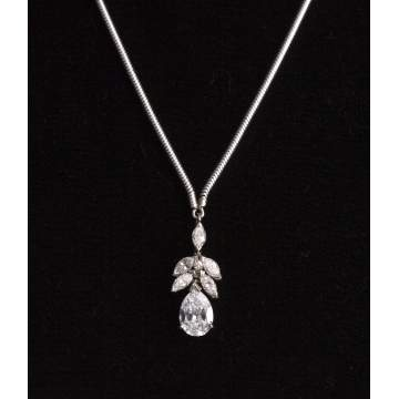 Pear Shaped Diamond Pendant Enhancer in 14K White Gold