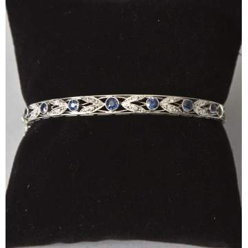 Vintage Platinum, Diamond & Saphire Bangle Bracelet