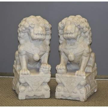 Carved Marble Foo Dogs