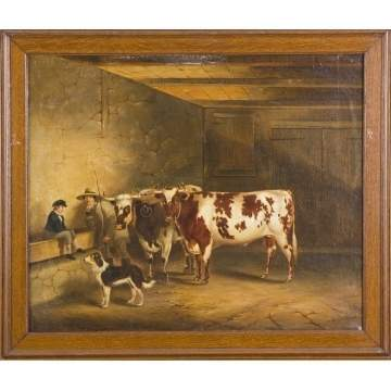 Thomas Kirby Van Zandt (American, 1814-1886) Cows in barn
