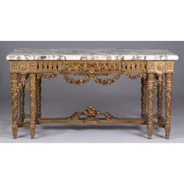 Large French Marble Top Table on Carved Gilt Wood Base