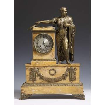 French Empire Marble & Bronze Julius Cesar Clock