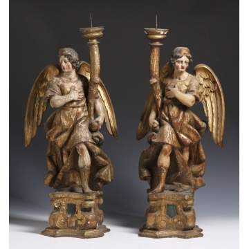 Carved & Polychrome Painted Angel Prickets