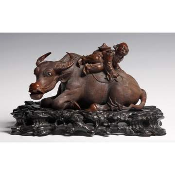Chinese Carved Teakwood Ox & Figure Sculpture on Carved Base