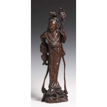 Chinese Carved Guanyin Teak Wood Sculpture of Woman w/Floral Silver Inlay