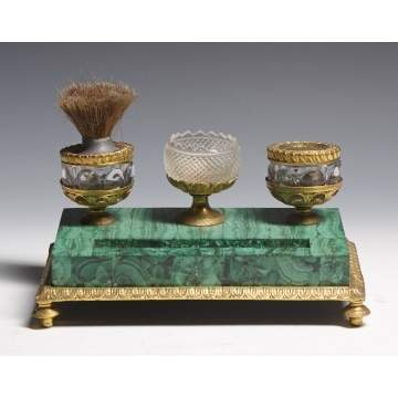 Russian Malachite Desk Set w/Bronze Mounts