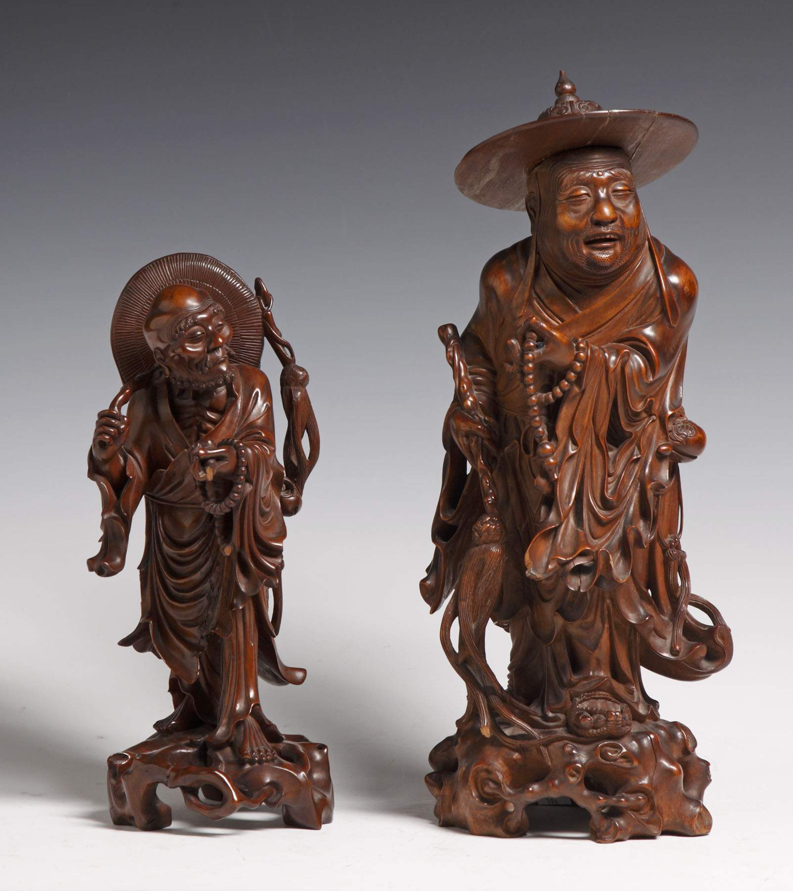 Chinese carved teak wood figures cottone auctions