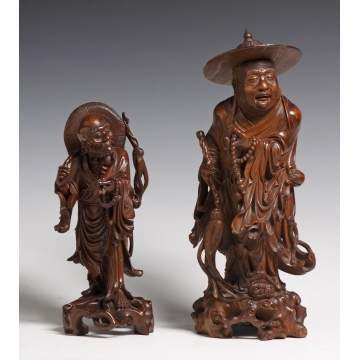Chinese Carved Teak Wood Figures