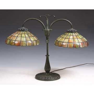 Handel Student Lamp w/Leaded Glass Shades