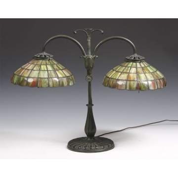 Handel Student Lamp W Leaded Glass Shades Cottone Auctions