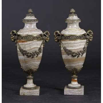 Pair of Marble Urns w/Bronze Mounts