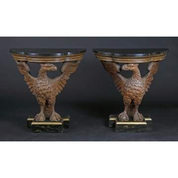 Pair of Carved Eagle Side Tables