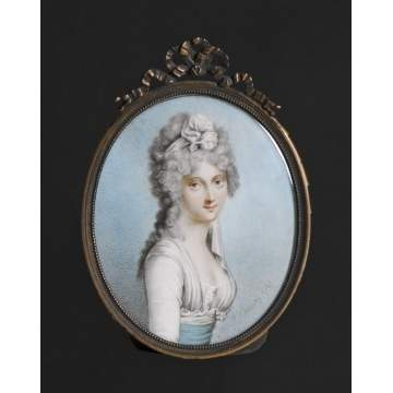 "In the manner of Richard Cosway (1742-1821) ""Lady Manners"" miniature portrait on ivory"