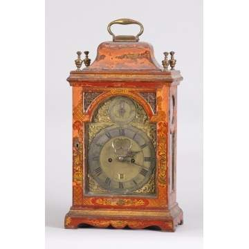 George III Red Chiseree Decorated Bracket Clock, by William Creak, London (1754-1763)