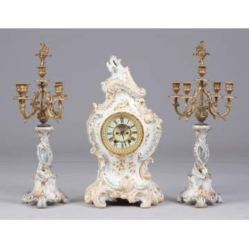 Ansonia Porcelain Clock with Candelabras, La Grande c. 1895