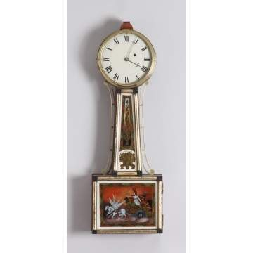 New England Ebonized and Gilt Front Banjo Clock