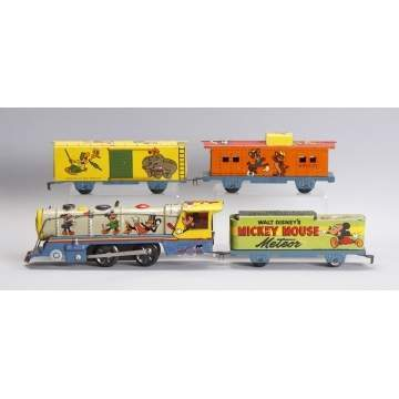 Marx Lines Walt Disney Productions Mickey Mouse Meteor 4 Pc. Train Set