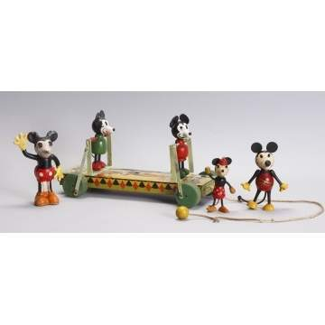 Group of Mickey Mouse Figures & Pull Toy