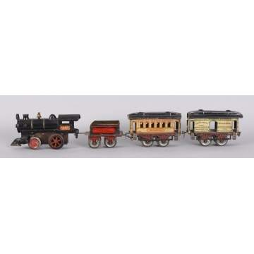Ives #3 Cast Iron & Tin Clock Work Train, 4 pc.