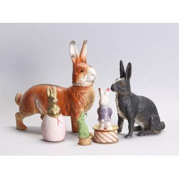 German Paper Mache Bunny Candy Containers