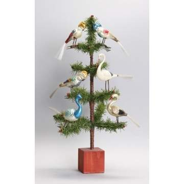 6 Hand Blown & Painted Glass Bird Ornaments