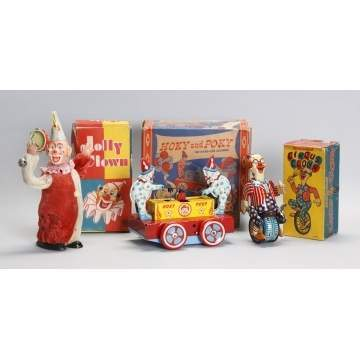 Tin Wind-Up Clown Toys