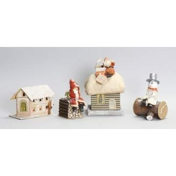 Group of 4 German Paper Mache Christmas Candy Containers