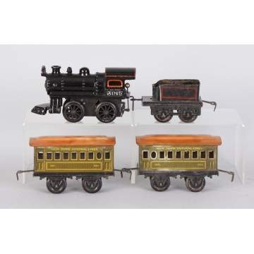 Bing 4 Pc. Cast Iron & Tin Clock Work Train