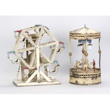 German Tin Musical Clockwork Ferris Wheel & Musical Wind-Up