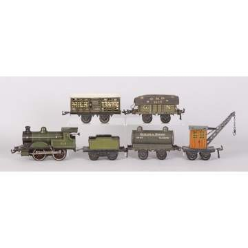 Bing Lithographed Tin Clockwork Train Set