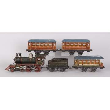 German Hand Painted Tin Clockwork Train Set
