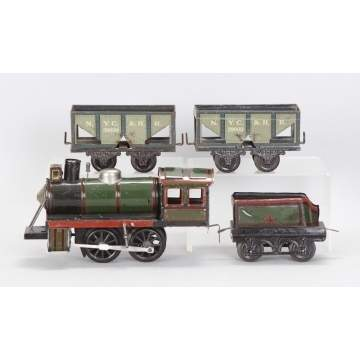 German Hand Painted Tin Clockwork Train