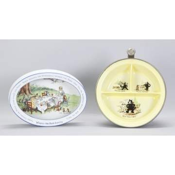 German Winnie the Pooh Party Baby Dish & Felix the Cat Hot Water Baby Plate