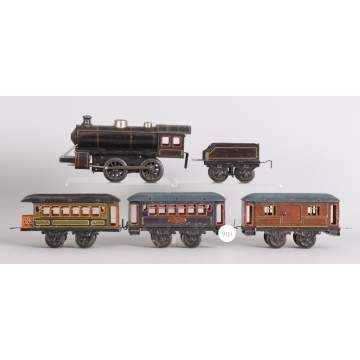 German, JKCO Clock Work 5 Pc. Tin Train