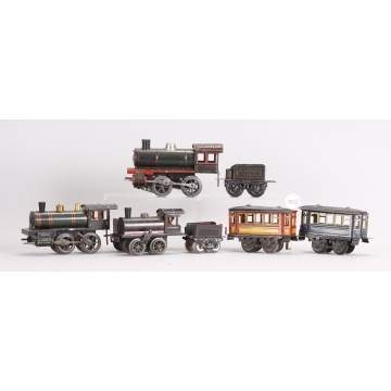 3 Tin Clock Work Engines & Tender Sets & 2 Cars