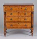 Country Sheraton Tiger Maple/Cherry Child's Chest