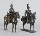 2 Continental Military Soldiers on Horseback, 800 Silver
