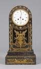 French Empire Marble Mantle Clock w/Gilt Bronze Decoration