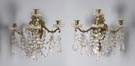 Pair of 19th Cent. Brass & Cut Crystal 4 Arm Wall Sconces