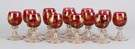 Set of 14 Cranberry Glass Cordials w/Enamel Decoration