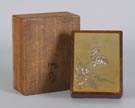 Japanese Mixed Metal & Burl Wood Covered Box w/Original Case