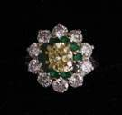 Yellow Diamond & Emerald Ring set in Platinum