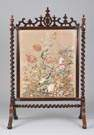 Carved Rosewood Fire Screen w/Needlework floral panel